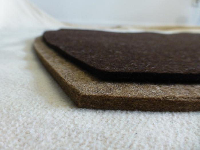 Inlays von KRAKELTIER gibt es unter anderem aus reinem Wollfilz in einer Stärke von 3mm und 5mm.